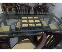 Tempered glass top 6 chair dinning table for sale