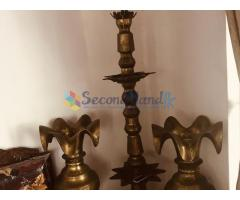 Traditional brass oil lamp with vases