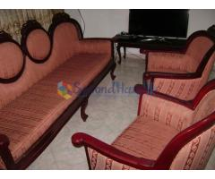 Wooden and Leather Sofas For Sale
