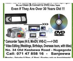 Video Tapes to DVD Transfer (Mini DV, VHS, Hi-8, VHSc,.....  )