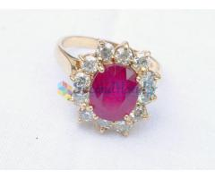 14k yellow gold 3.5 Cts Natural Ruby 1.00 Ct Diamond ring