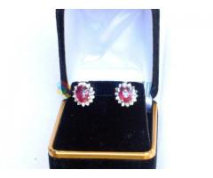2.21 Cts Ruby & Diamond Earrings set in 14K solid white Gold