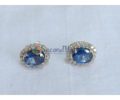 14k solid white gold earring set with 2 Sri Lanka blue sapphires