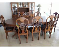 Teak 8'x4' table with 8 chairs