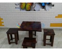 Teak gloss table with four benches