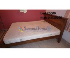 Queen size teak bed and metress for sale