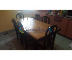 Used Dinning Table with 6 Cushioned Chairs(6' X 3')